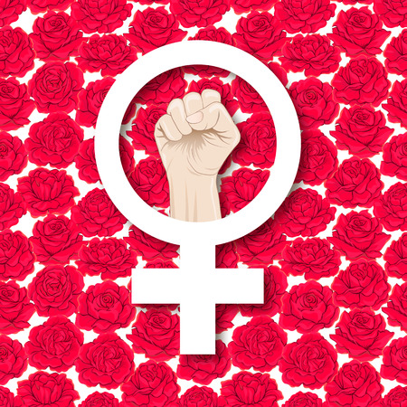 Symbol of feminism with a female fist vector illustration.