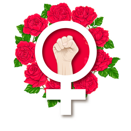 Symbol of feminism with a female fist vector illustration. 版權商用圖片 - 106991465