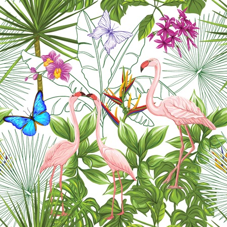 Vector seamless pattern, background with flamingo and tropical plants