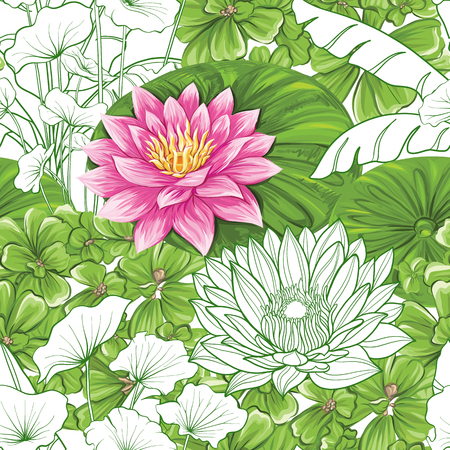 Vector seamless pattern, background with tropical plants  イラスト・ベクター素材