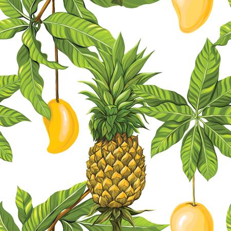 Vector seamless pattern, background with tropical plants Ilustração