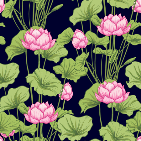 Seamless pattern, background with lotus flower. Botanical illustration style. Stock vector illustration. Archivio Fotografico - 111670249