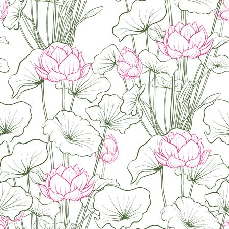 Naadloze patroon, achtergrond met lotusbloem. Botanische illustratiestijl. Voorraad vectorillustratie.
