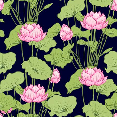 Wzór, tło z kwiatem lotosu. Botaniczny styl ilustracji. Stockowa ilustracja wektorowa. Ilustracje wektorowe