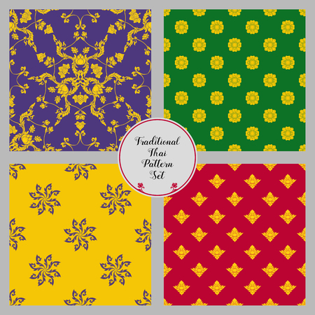 Set of seamless pattern with color decorative elements of tradit 向量圖像