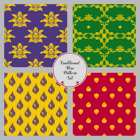 Set of seamless pattern with color decorative elements of tradit 矢量图像