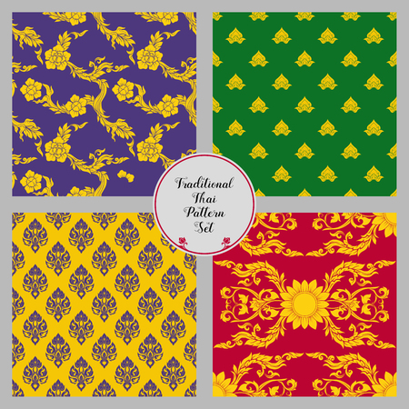 Set of seamless pattern with color decorative elements of tradit Vettoriali