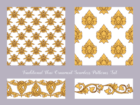 Set of seamless pattern with color decorative elements of tradit Vectores