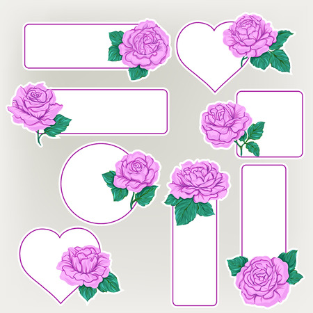 Set of labels, stickers with pink roses isolated on white background. Hand drawn colorful vector illustration without transparent and gradients. Иллюстрация
