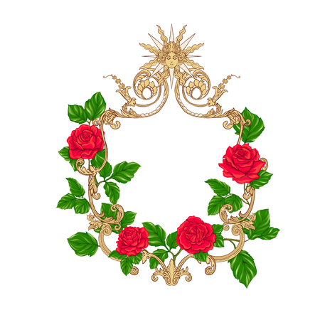 Rococo reach decorative frame with red roses and space for text