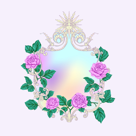 Rococo reach decorative frame with pinkroses and space for text