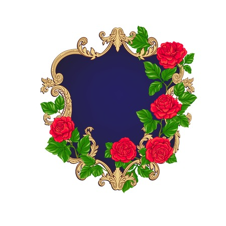 Rococo reach decorative frame with pinkroses and space for text Foto de archivo - 107698496