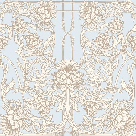 Patrón sin fisuras con flor de cardo, fondo en estilo art nouveau, estilo vintage, antiguo, retro.