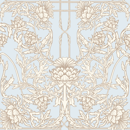 Seamless pattern with thistle flower, background in   art nouveau style, vintage, old, retro style. Illusztráció