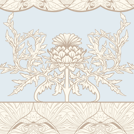 Seamless pattern with thistle flower, background in   art nouveau style, vintage, old, retro style. 일러스트