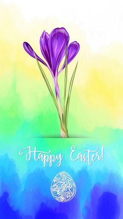 Greeting card decorated with crocus, easter eggs and the inscription Happy Easter in soft ultra violet colors. Stock vector illustration on watercolor background.