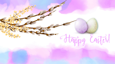 Greeting card decorated with Easter eggs and the inscription Happy Easter in soft ultra violet colors. Stock vector illustration on watercolor background.