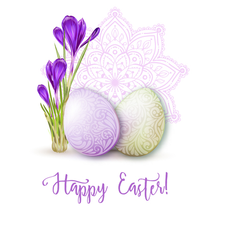 Greeting card decorated with Easter eggs and the inscription Happy Easter in soft ultra violet colors. Stock vector illustration Isolated on white background.  イラスト・ベクター素材