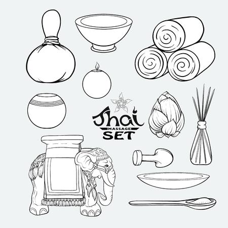 A set of items for Thai massage. Stock vector illustration. Illustration