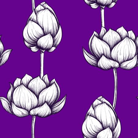 Seamless pattern, background with lotus flower. Botanical illust Stock Photo