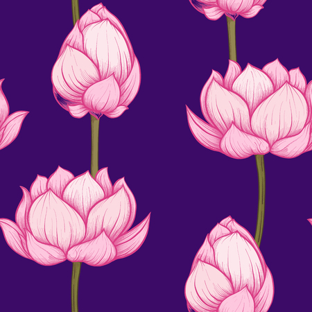 Seamless pattern, background with lotus flower. Botanical illust Reklamní fotografie