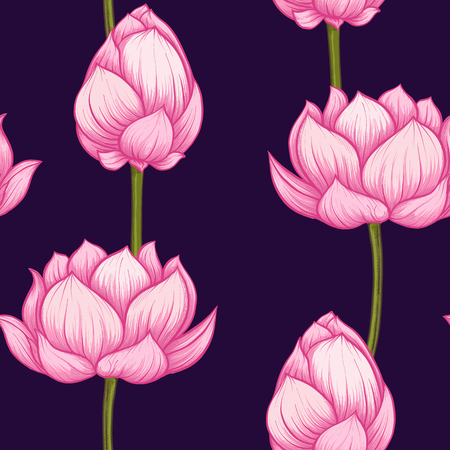 Seamless pattern, background with lotus flower. Botanical illust Stock Photo