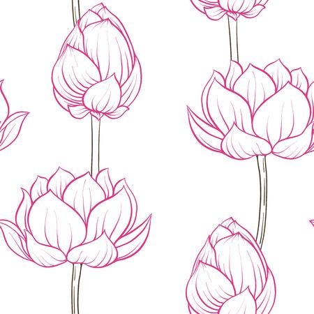 Seamless pattern, background with lotus flower. Botanical illust Archivio Fotografico - 107698580