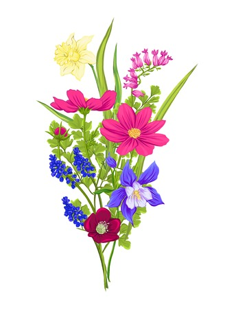 Bouquet of spring, summer flowers. Colorful realistic vector illustration. Isolated on white background. Illustration