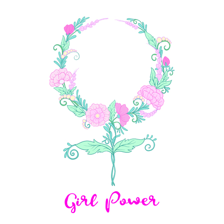 Feminism sign with flowers. Girls power. Illustration