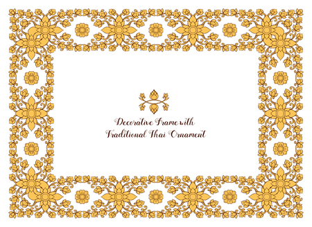 Frame with  decorative elements of traditional Thai ornament. Stock Vector - 107698632