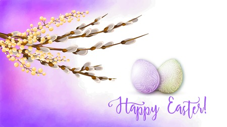 Greeting card decorated with Easter eggs and the inscription Happy Easter in soft ultra violet colors. Stock vector illustration on watercolor background. Illustration