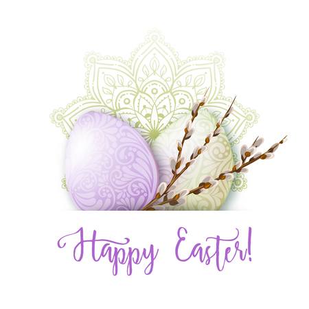 Greeting card decorated with Easter eggs and the inscription Happy Easter in soft ultra violet colors. Stock vector illustration Isolated on white background. Illustration