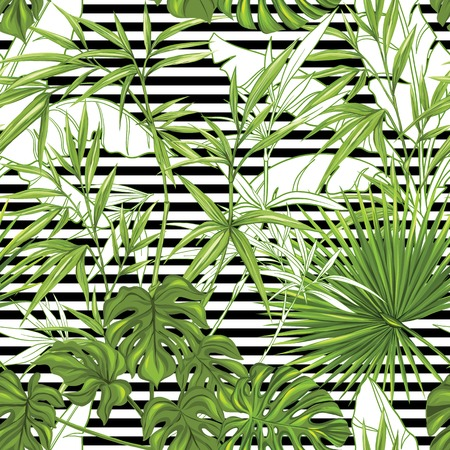 Seamless pattern, background with bamboo and tropical plants on b w stripes background. Hand drawn colorful vector illustration without transparent and gradients.