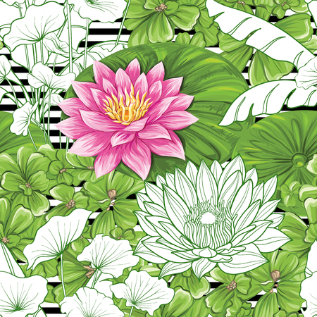 Seamless pattern, background with lotus on b w stripes background. Hand drawn colorful vector illustration without transparent and gradients.