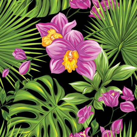 Vector seamless pattern, background with tropical plants Banque d'images - 107698660