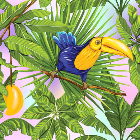 Vector seamless pattern, background with tropical plants Illustration