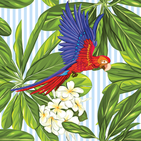 Seamless pattern, background with parrot and white plumeria on blue and white stripes background. Hand drawn colorful vector illustration without transparent and gradients.