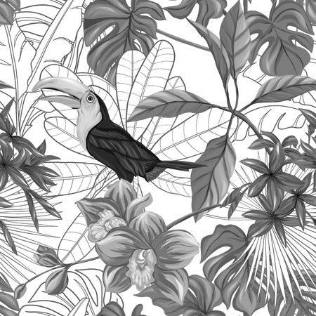 Seamless pattern, background with toucan and tropical plants on white background. Hand drawn monochrome vector illustration without transparent and gradients. Illustration