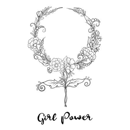 Vector de señal de feminismo con flores. Poder niñas. Ilustración de vector