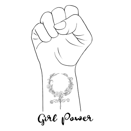 Womans  hand fist raised up freedom sign with feminism sign with
