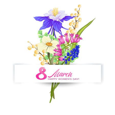 Bouquet of spring flowers for 8 March. Colorful realistic vector illustration. Isolated on white background.