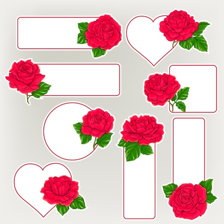 Set of labels, stickers with red roses isolated on white background. Hand drawn colorful vector illustration without transparent and gradients.