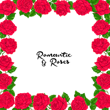 Card, label, banner with red roses and space for text isolated on white background. Hand drawn colorful vector illustration without transparent and gradients. Illustration