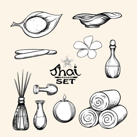Eine Reihe von Gegenständen für die Thai-Massage. Stock Vektor-Illustration.