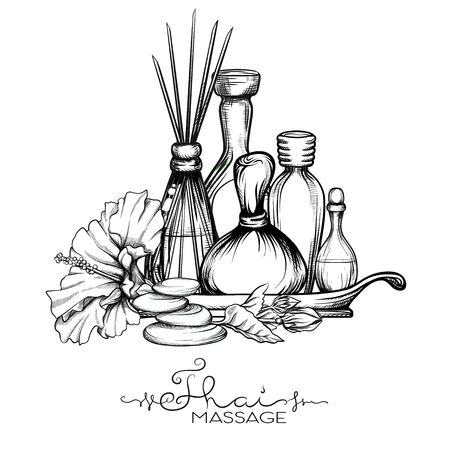 Un ensemble d'articles pour le massage thaïlandais. Illustration vectorielle stock.