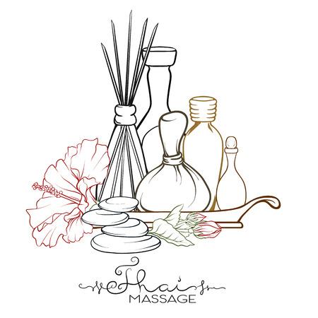 Un ensemble d'articles pour le massage thaï. Illustration vectorielle stock. Vecteurs