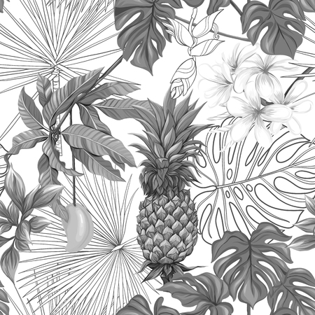 Vector seamless pattern, background with tropical plants Ilustrace
