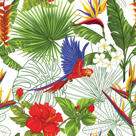 Vector seamless pattern, background with parrot and tropical plants Illustration