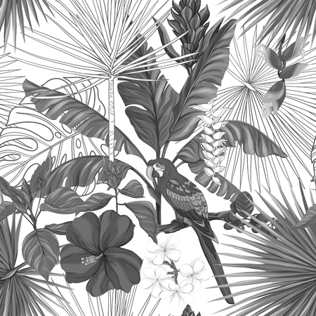 Seamless pattern, background with parrot and tropical plants on white background. Hand drawn monochrome vector illustration without transparent and gradients.