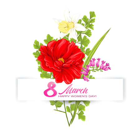 Bouquet of spring flowers for 8 March. Colorful realistic vector illustration. Isolated on white background. Vector Illustration